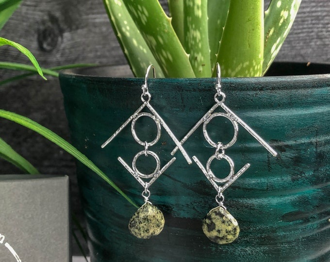Chrysoprase and Hammered Sterling Silver Dangle Earrings