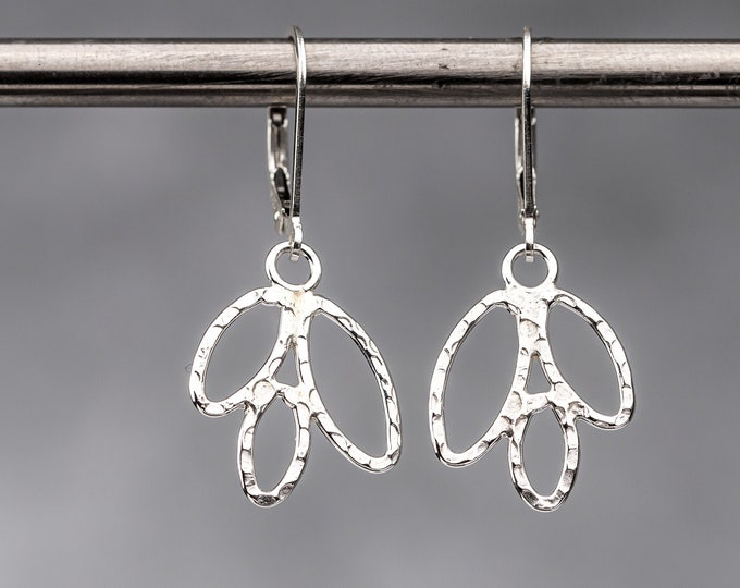 Sterling Silver Lever Back Leaf Earrings - Simple Everyday Jewelry - Lightweight Dangle Earring