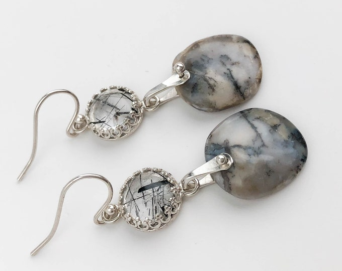 Tourmalinated Quartz and Agate Earrings