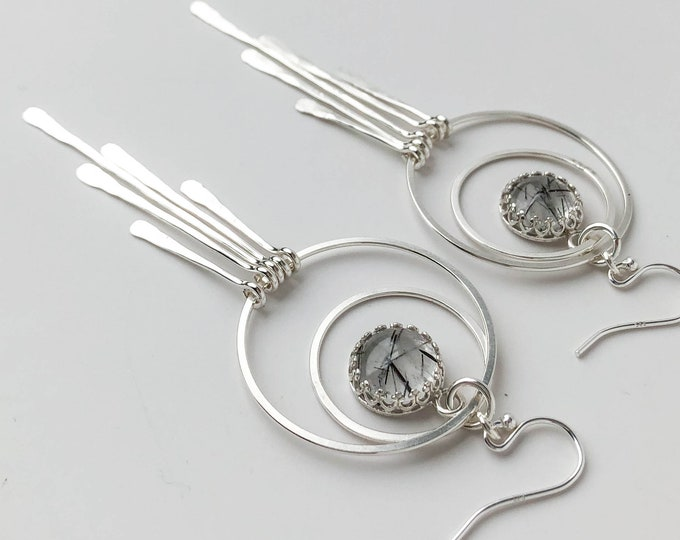 Tourmalinated Quartz and Silver Fringe Statement Earrings