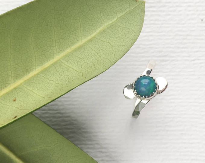 Sterling Silver Opal Ring - Size 7.5