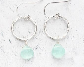Aqua Chalcedony Teardrop Gemstone Dangles on Hammered Sterling Silver Silver Circle Earrings - Nickel Free Everyday Jewelry