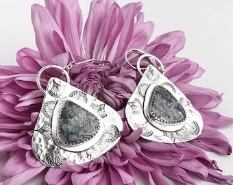 Pyrite Agate Teardrop Statement Earrings