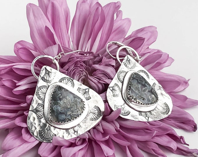 Pyrite Agate Teardrop Statement Earrings