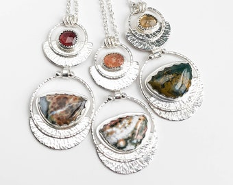 Ocean Jasper and Garnet, Sunstone or Topaz