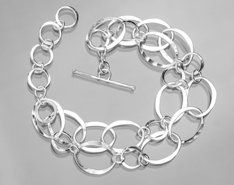 Double Strand Sterling Silver Toggle Bracelet
