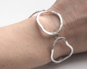 Organic Shaped Silver Link Bracelet