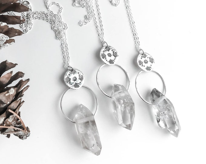 Quartz Crystal Point Long Necklace