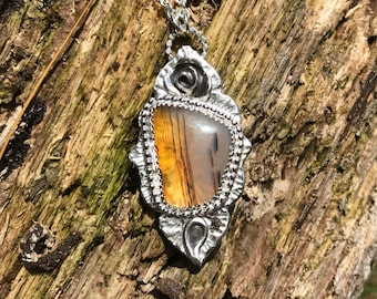Brown Striped Agate Pendant Necklace