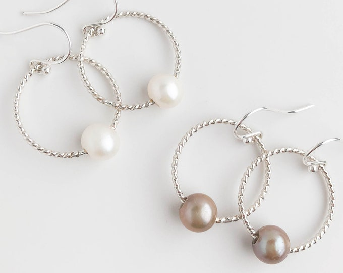 Freshwater Pearl Hoop Dangle Earrings