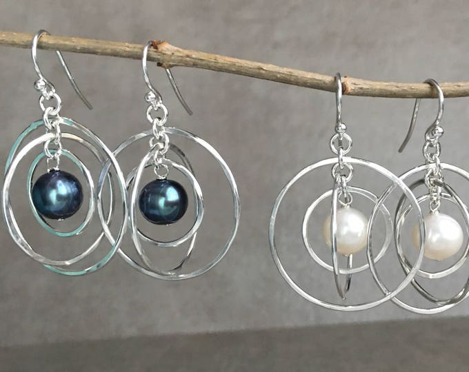 Freshwater Pearl Silver Orbit Earrings