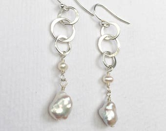 Silver Circles and Pearls Dangle Earrings