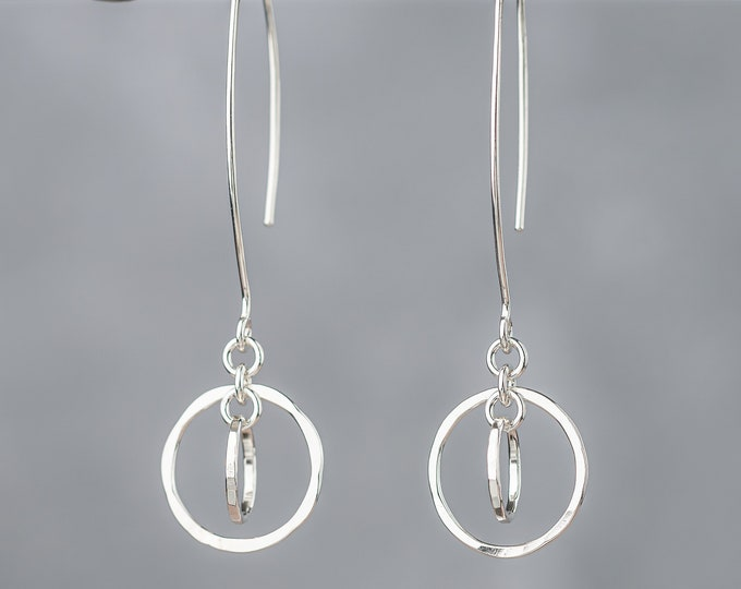 Circle Orbit Earrings with Long Ear Wires