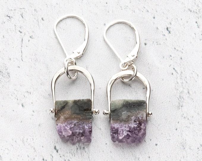 Amethyst Stalactite Slice Dangle Earrings