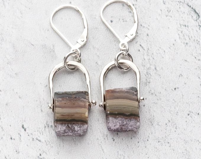Amethyst Stalactite Slice Dangle Earrings - Nickel Free Lever Back Geode Cross Section Earrings