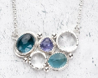 Gemstone Cluster Necklace - London Blue Topaz, Aquamarine and Tanzanite set in sterling silver
