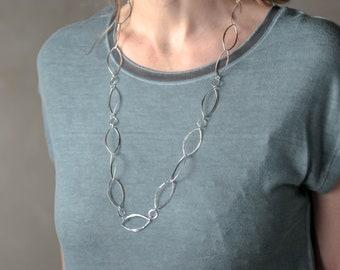 Long Handmade Sterling Silver Chain