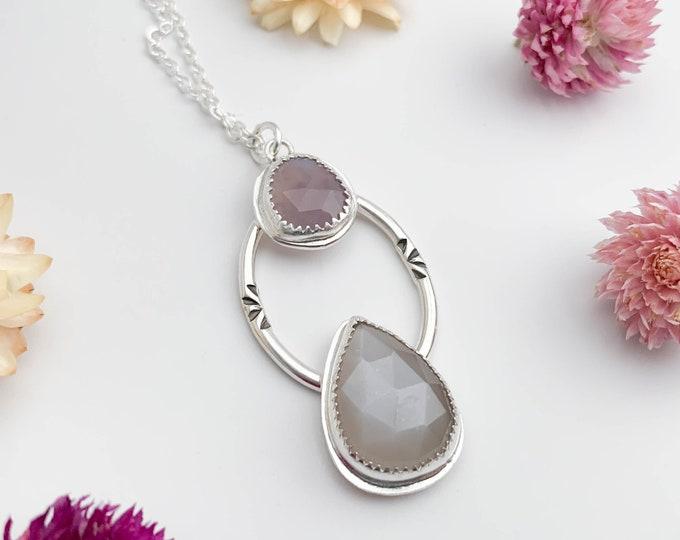 Gray & Lavender Gemstone Pendant on Long Chain