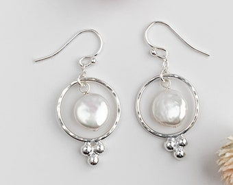 Coin Pearl Ring Earrings