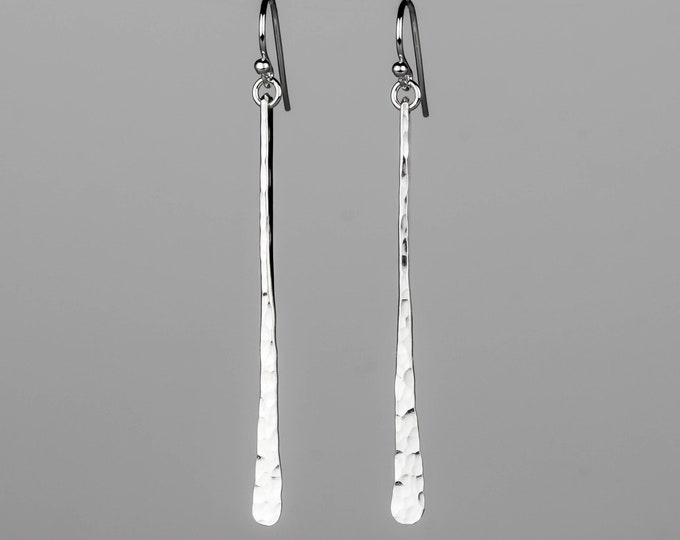Two Inch Hammered Silver Stick Earrings