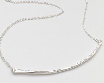 Hammered Skinny Bar Necklace