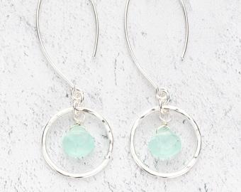 Hammered Sterling Silver Circle with Teardrop Aqua Chalcedony Gemstone Dangle Earrings on Long Handmade Ear wires - Briolette Drop Earrings