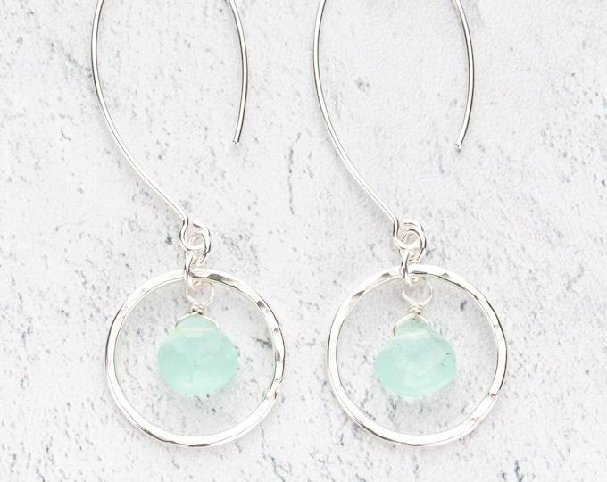 Aqua Chalcedony Gemstone Dangle Earrings on Long Ear wires