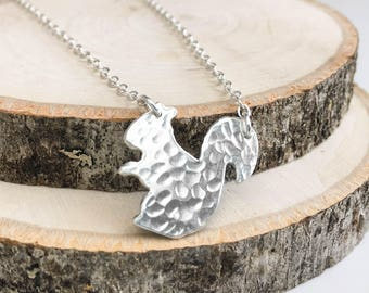 Hammered Silver Squirrel Necklace
