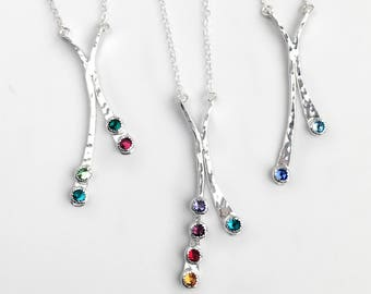 Hammered Silver Crystal Birthstone Pendant Necklace