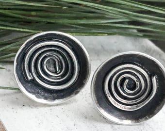 Spiral Disc Stud Earrings