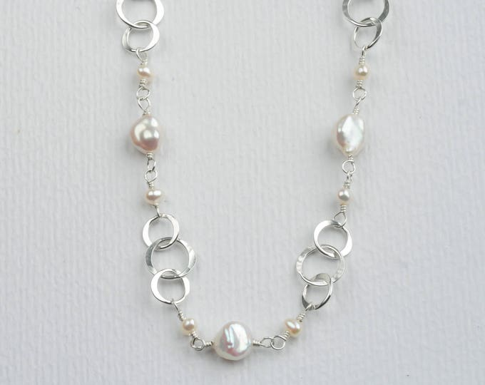 Silver Circles and Pearls Necklace