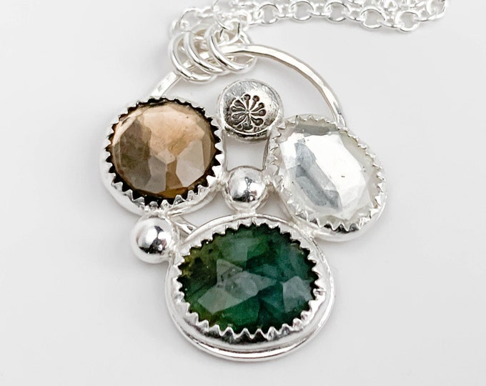 Emerald Gemstone Cluster Pendant Necklace