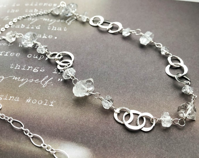 """Herkimer Diamond and Silver Circle Station Necklace 18"""""""