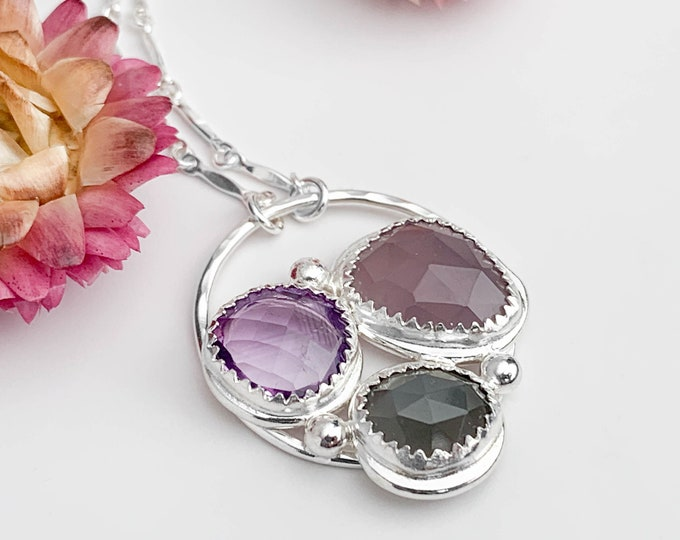 Purple and Gray Gemstone Pendant Necklace