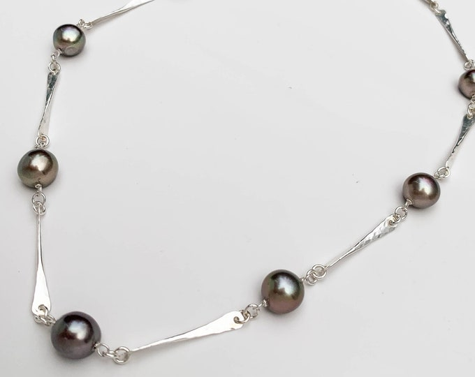 Chocolate Brown Pearl and Hammered Sterling Silver Bar Station Necklace - Bronze Pearl Jewelry