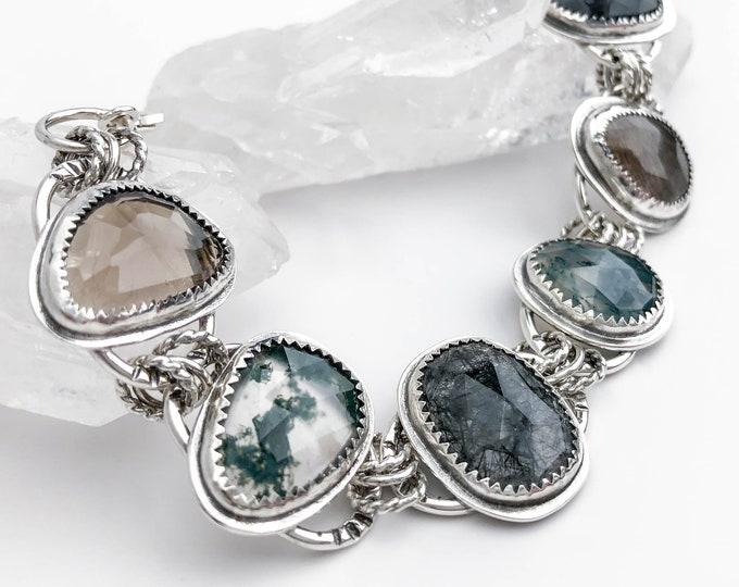Rose Cut Gemstone Statement Bracelet