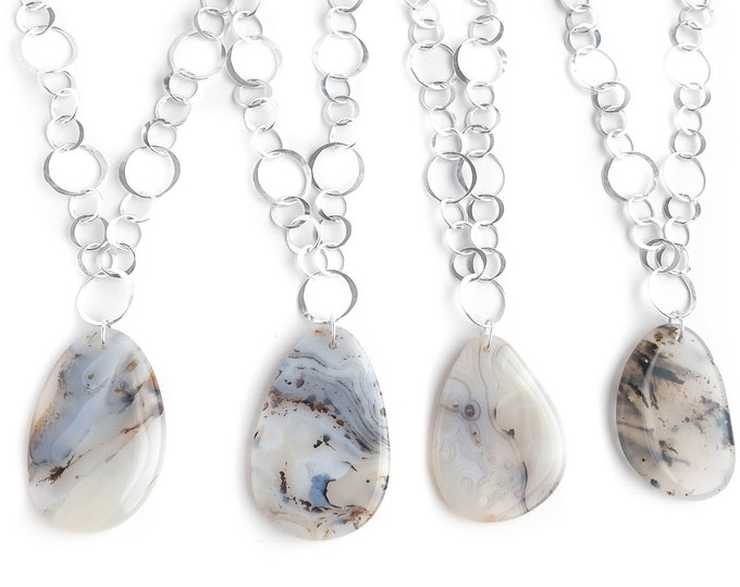 Montana Agate on Handmade Chain Necklace