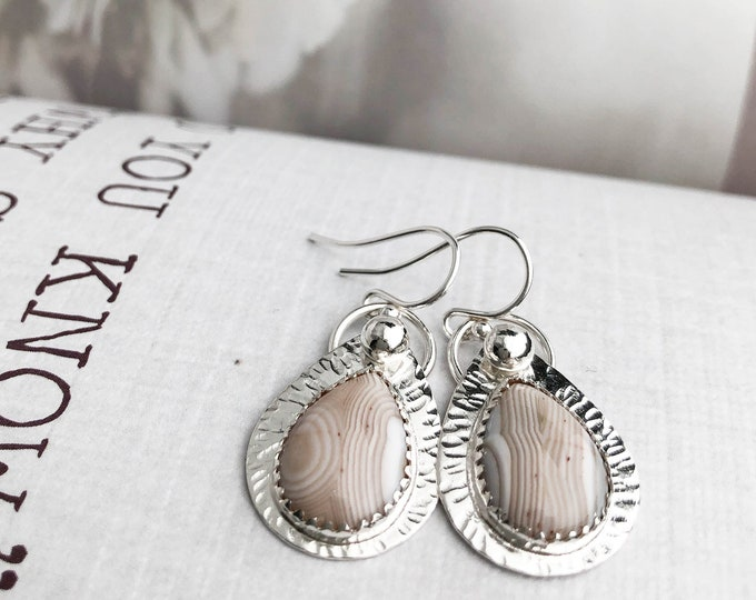 Banded Agate Teardrop Earrings