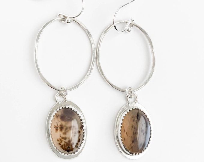 Oval Dendritic Agate Earrings
