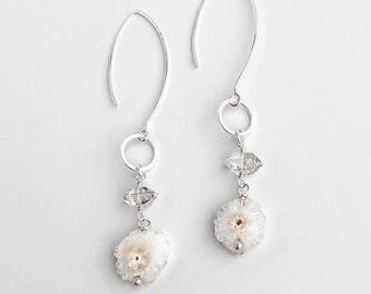 Herkimer Diamond and Raw Drusy Dangle Earrings