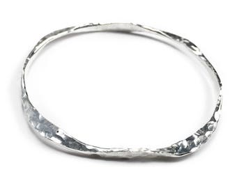Hammered Silver Heavy Bangle