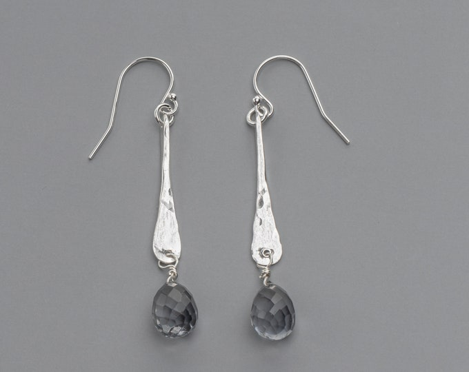 Hammered Bar Earrings with Faceted Gray Quartz