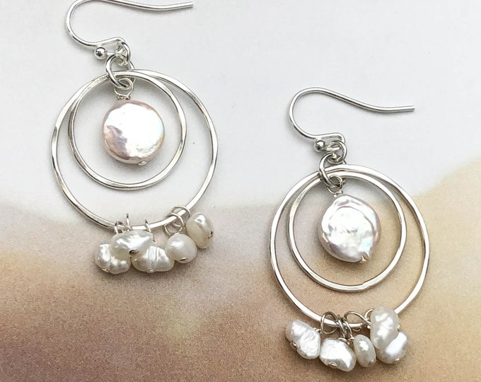 Jingling Coin Pearl Circle Earrings