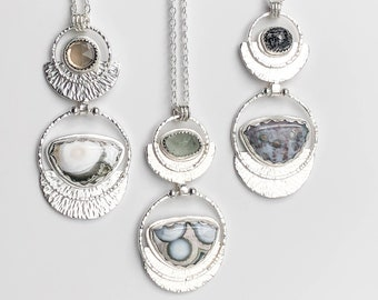 Ocean Jasper Long Necklace with Smoky Quartz, Moss Aquamarine or Titanium Quartz