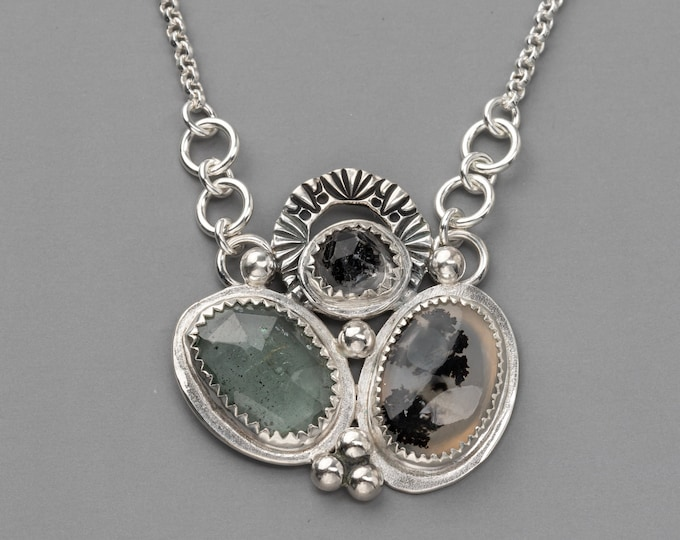 Dendritic Agate, Aquamarine and Herkimer Diamond Sterling Silver Cluster Necklace