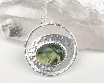 Prehnite and Hammered Silver Circle Pendant Necklace - Sterling Silver and Stone Jewelry - Green Stone Pendant Bezel Set in Sterling Silver