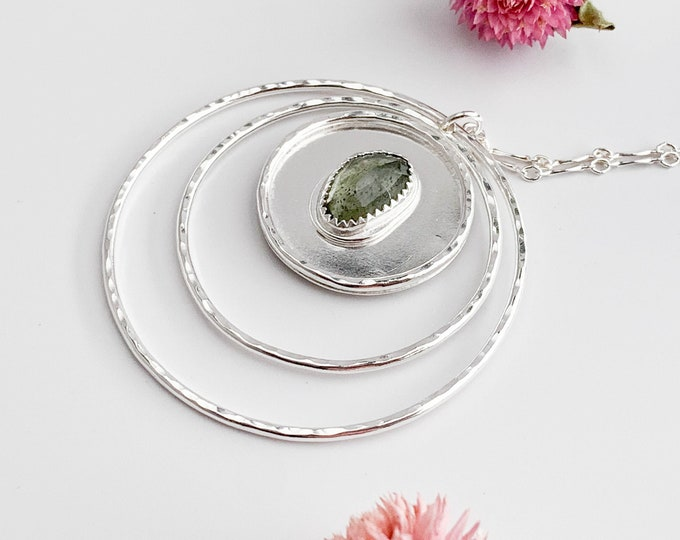 Three Circle Moss Aquamarine Long Necklace