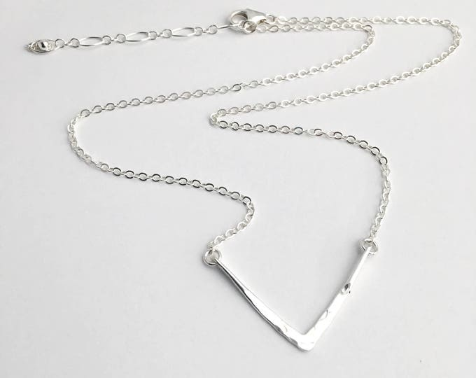 Silver V Necklace - Tiny Delicate Silver Necklace - Simple Sterling Silver Jewelry - Hammered Silver V Necklace - Gift Under 50