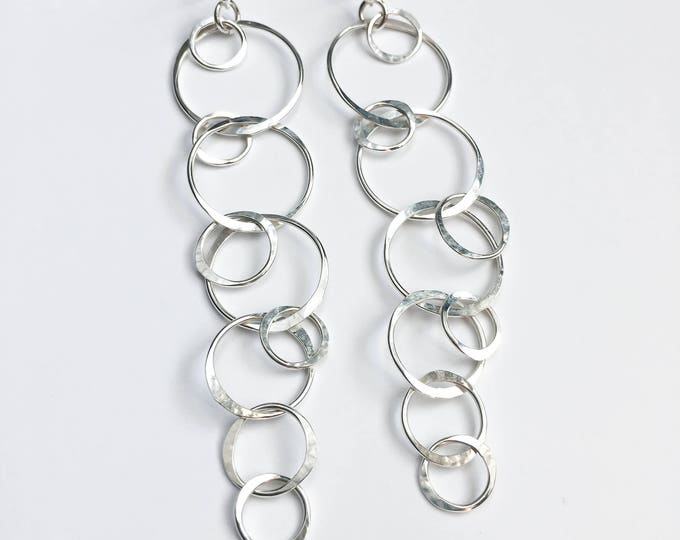 Silver Circles Long Earrings