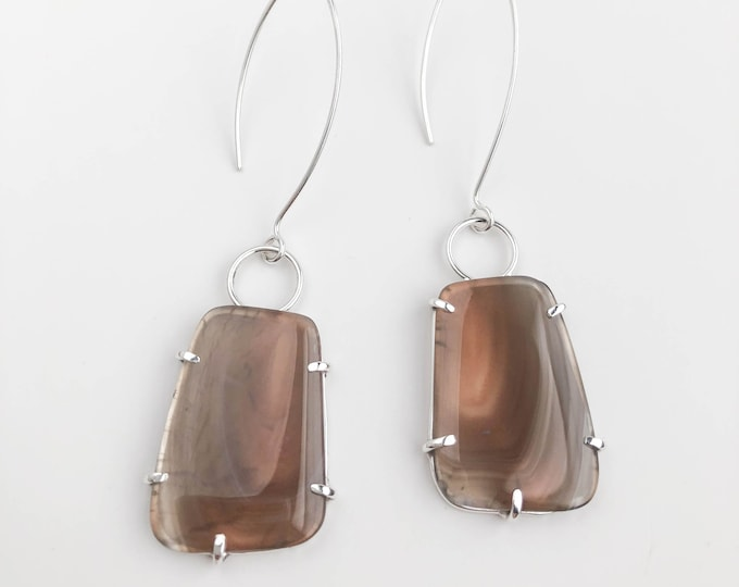 Rectangle Agate Earrings